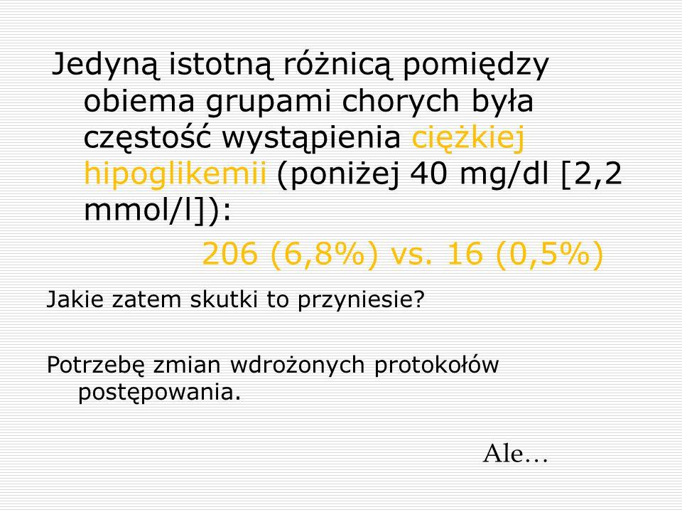 Jedyną istotną różnicą pomiędzy obiema grupami chorych była częstość wystąpienia ciężkiej hipoglikemii (poniżej 40 mg/dl [2,2 mmol/l]):